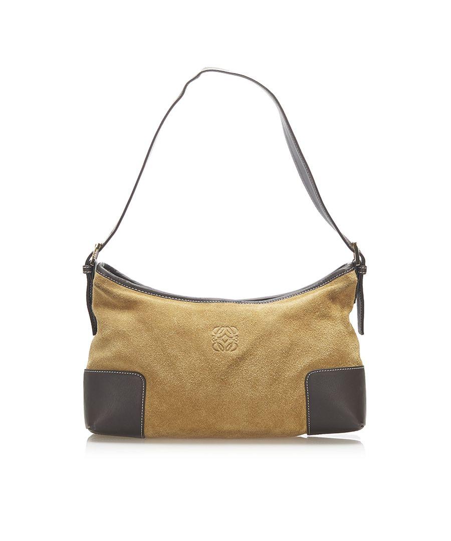 Image for Vintage Loewe Anagram Suede Shoulder Bag Blue