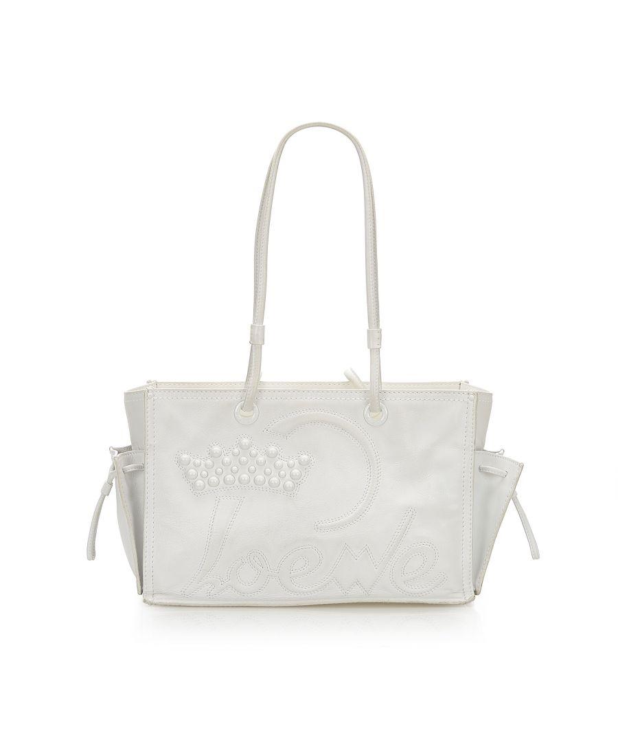 Image for Vintage Loewe Leather Tote Bag White