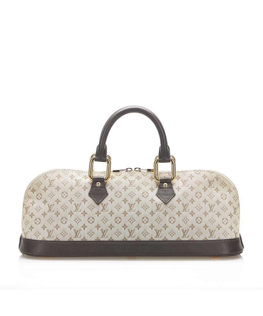 Image for Vintage Louis Vuitton Monogram Mini Lin Alma Long Handbag Gray