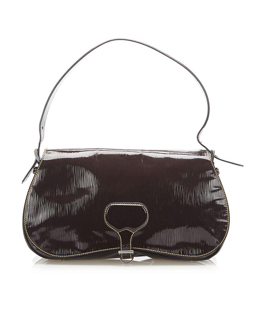 Image for Vintage Prada Saffiano Vernice Shoulder Bag Brown