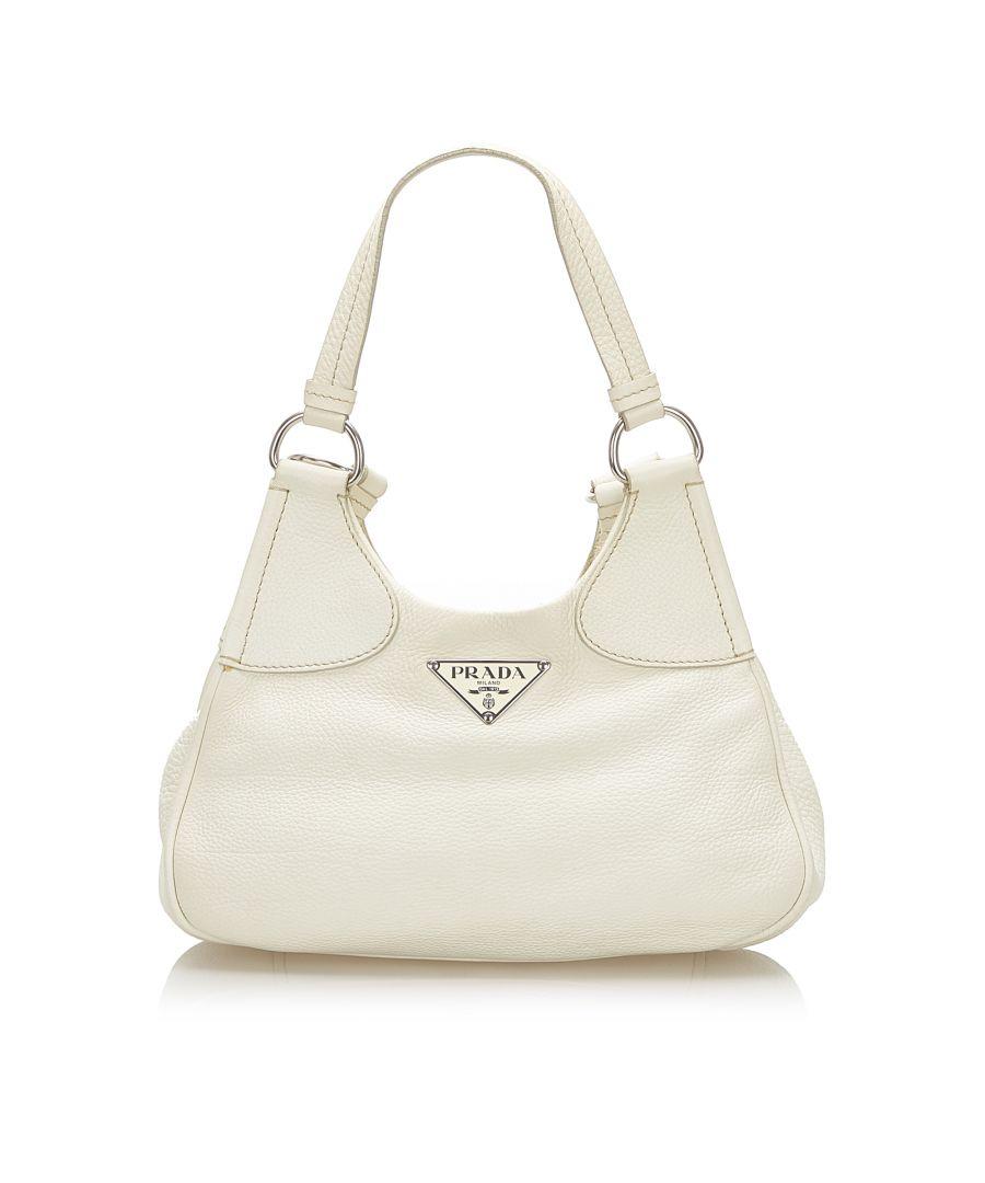 Image for Vintage Prada Leather Shoulder Bag White