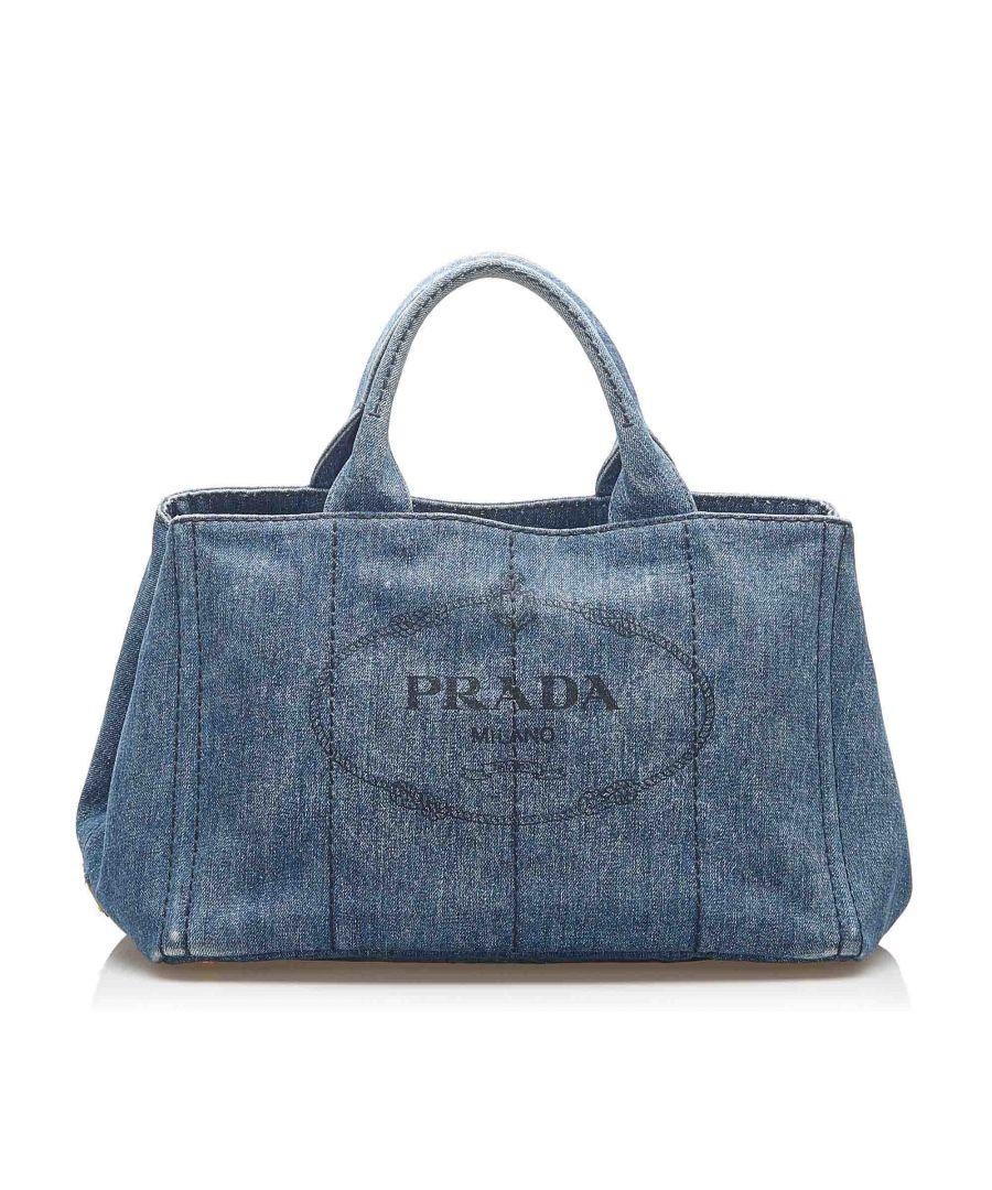 Image for Vintage Prada Canapa Logo Denim Satchel Blue