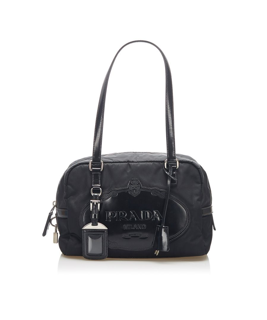 Image for Vintage Prada Canapa Tessuto Shoulder Bag Black