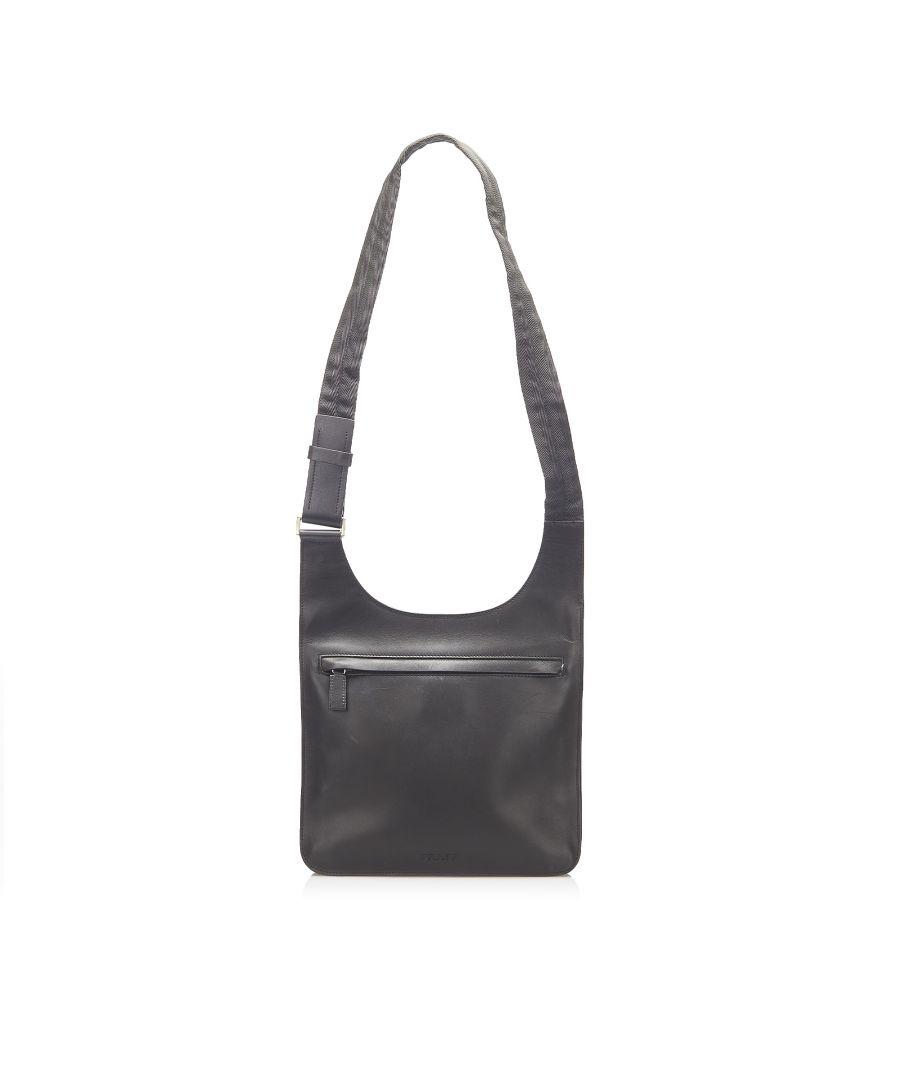 Image for Vintage Prada Leather Crossbody Bag Black