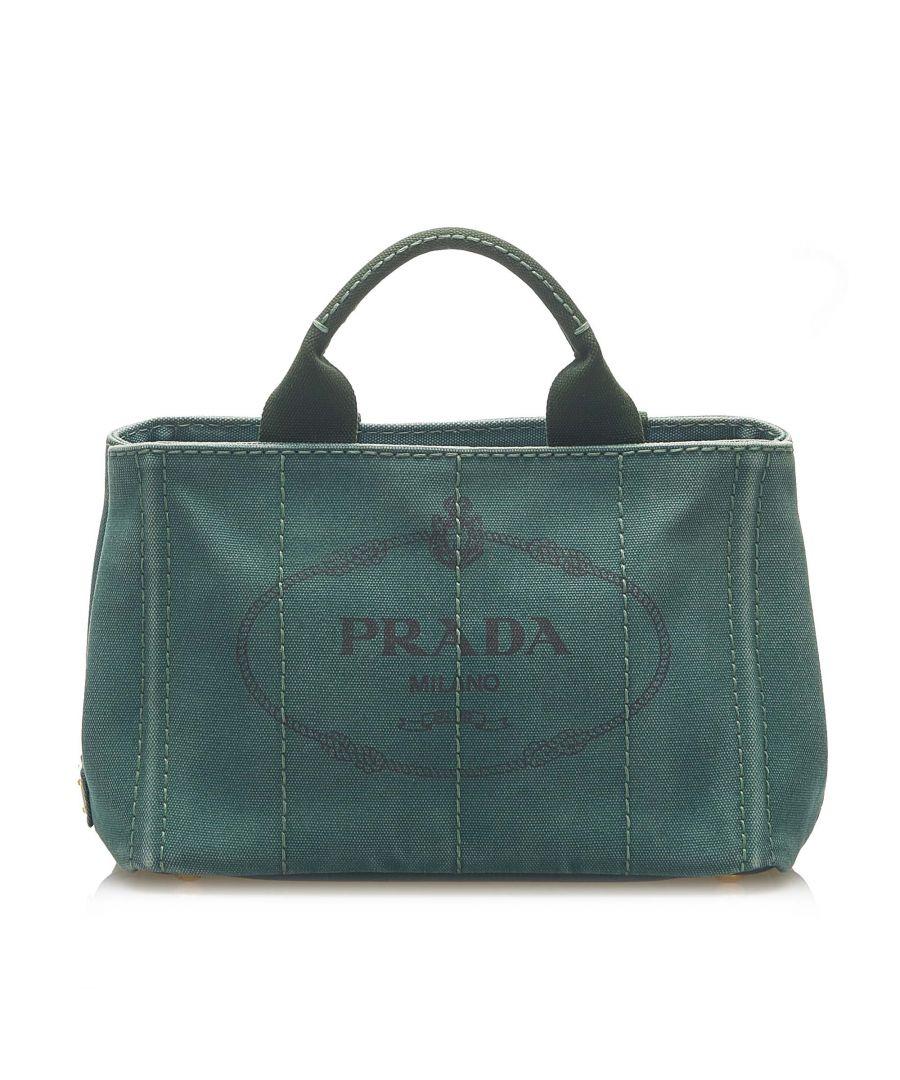 Image for Vintage Prada Canapa Logo Canvas Satchel Green