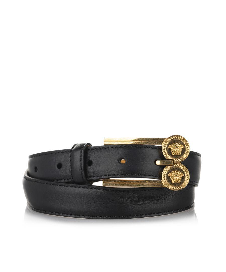 Image for Vintage Versace Medusa Leather Belt Black