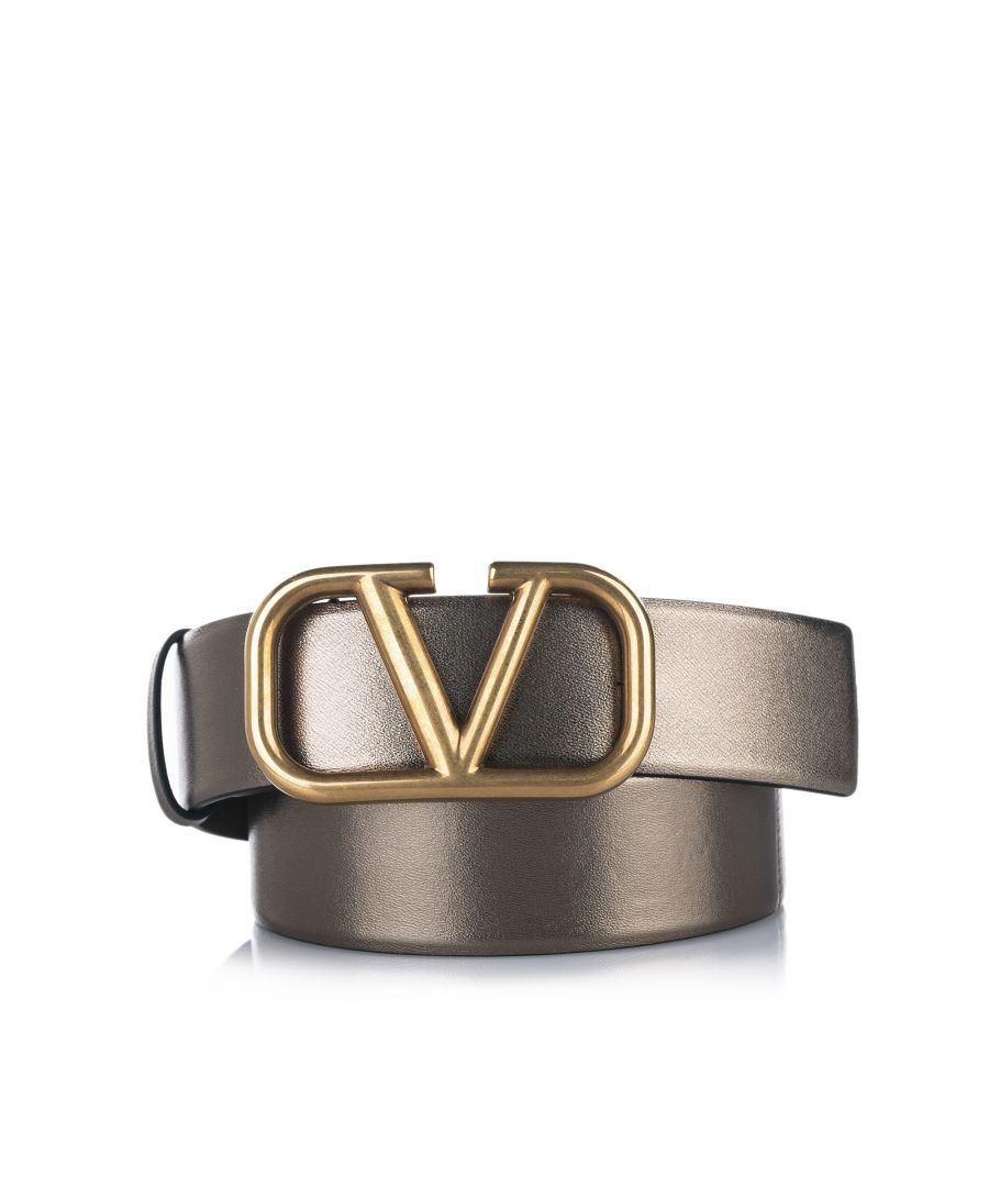 Image for Vintage Valentino V Logo Leather Belt Brown