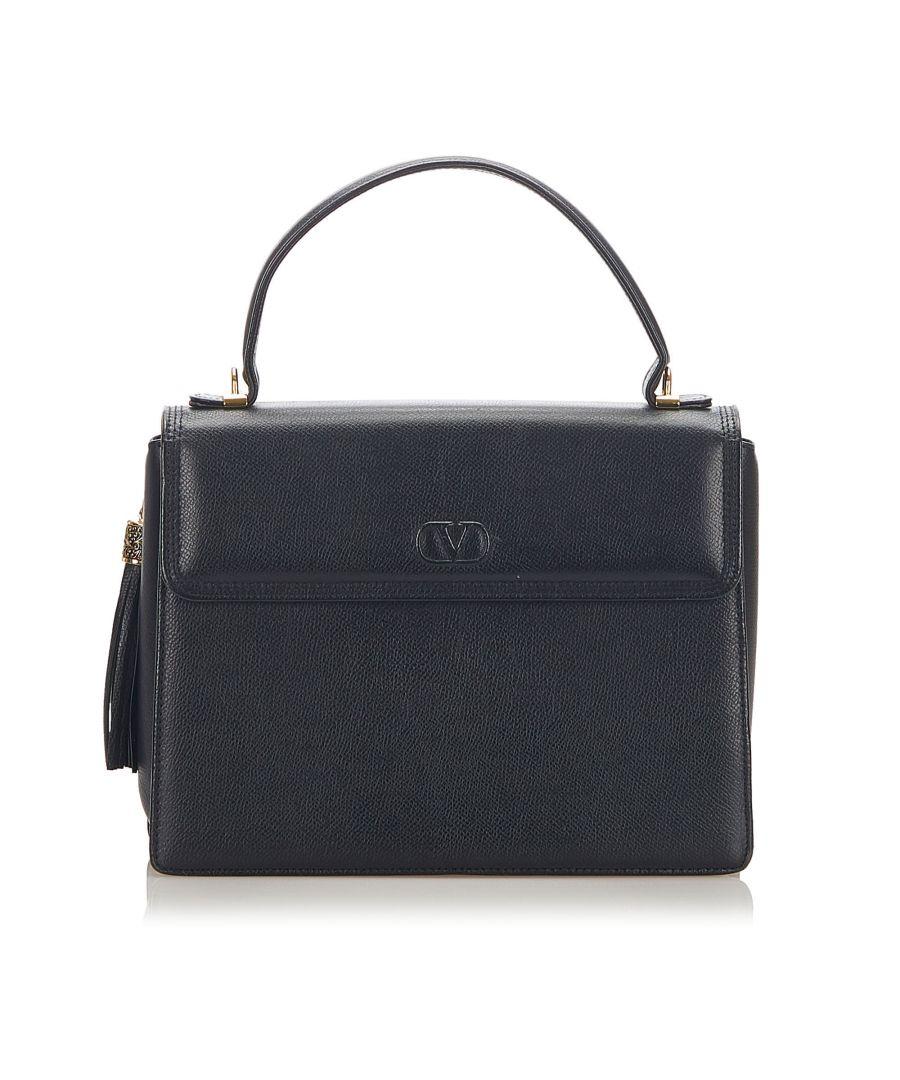 Image for Vintage Valentino Leather Handbag Black