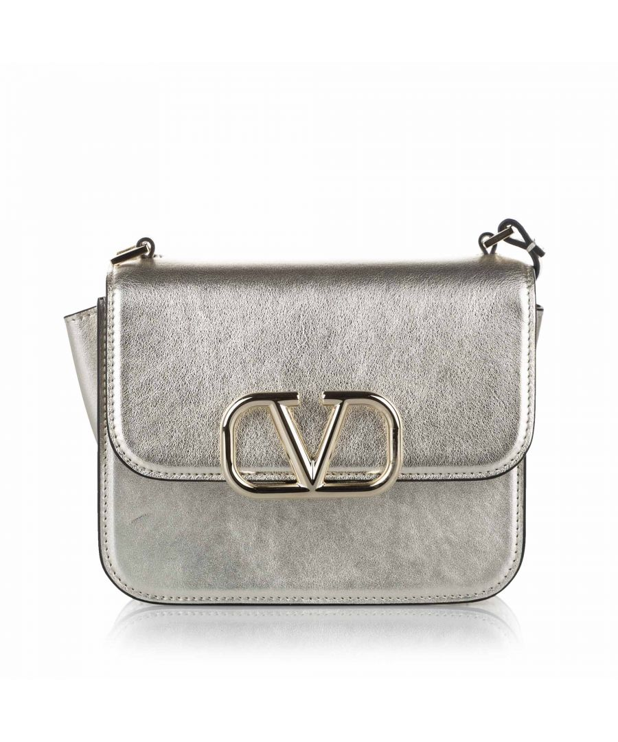 Image for Vintage Valentino Medium VSling Leather Crossbody Bag Silver