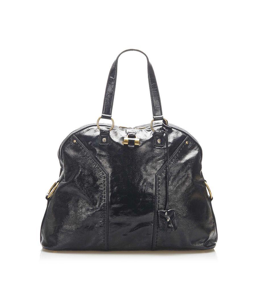 Image for Vintage YSL Muse Patent Leather Shoulder Bag Black
