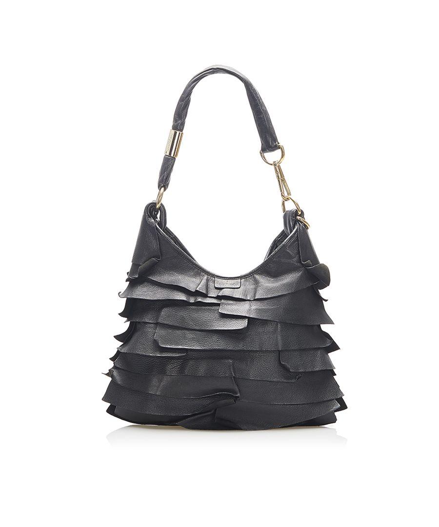 Image for Vintage YSL Saint Tropez Leather Shoulder Bag Black