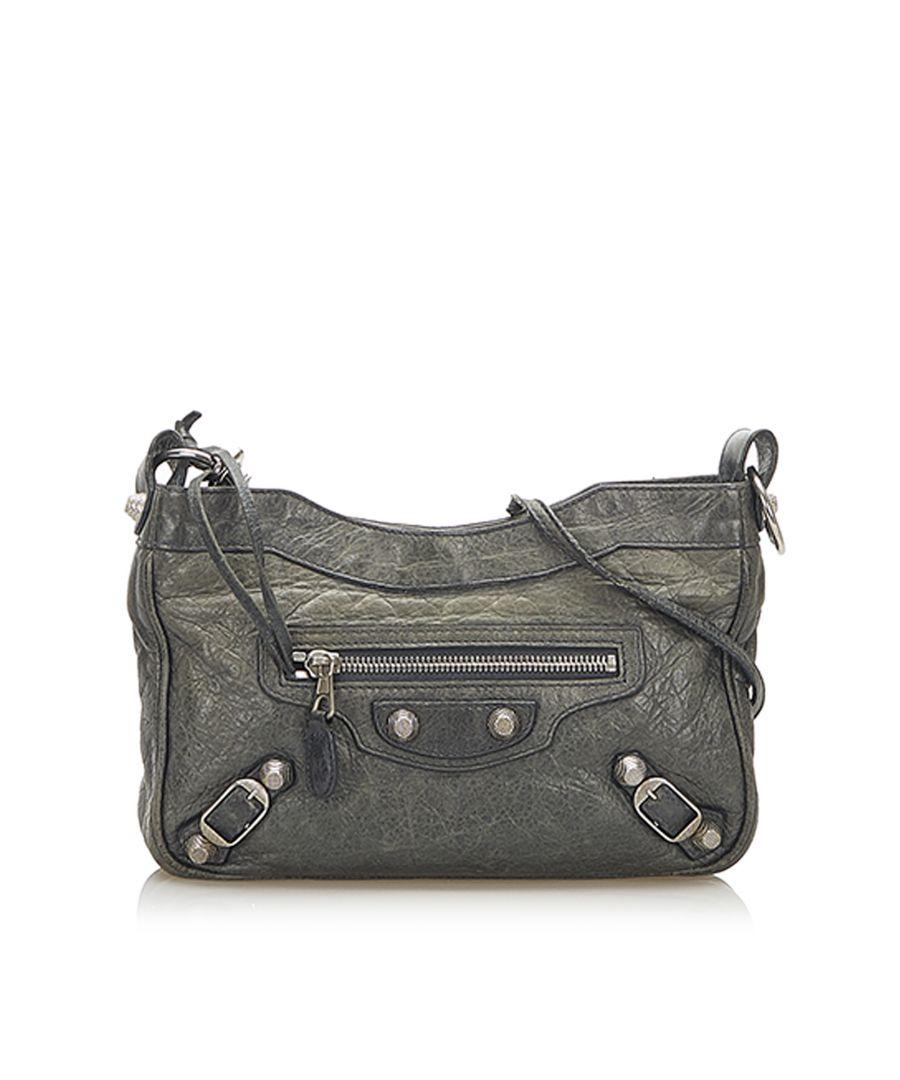 Image for Vintage Balenciaga Leather Crossbody Bag Gray