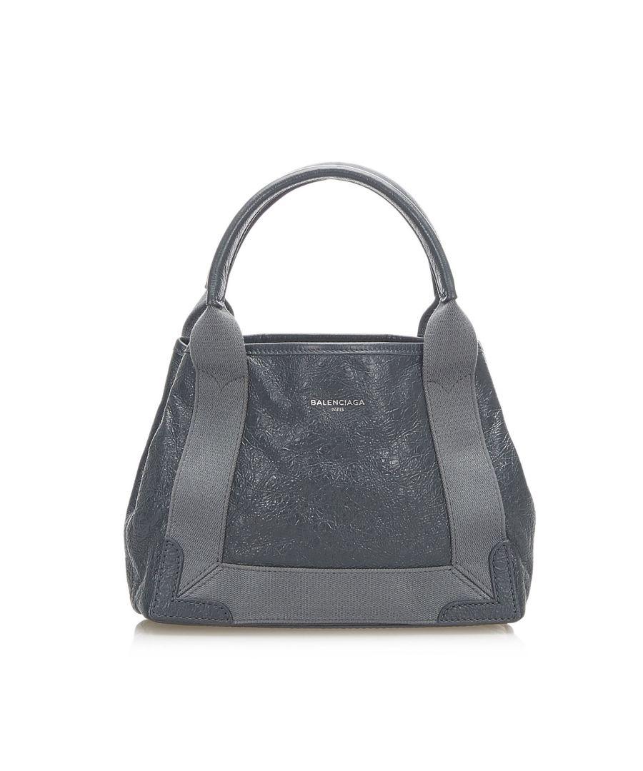Image for Vintage Balenciaga Navy Cabas XS Leather Satchel Black