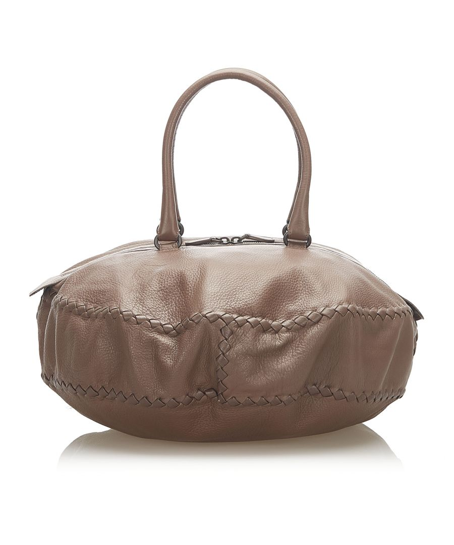 Image for Vintage Bottega Veneta Intrecciato Leather Travel Bag Brown