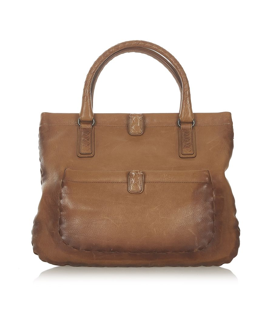 Image for Vintage Bottega Veneta Leather Tote Bag Brown
