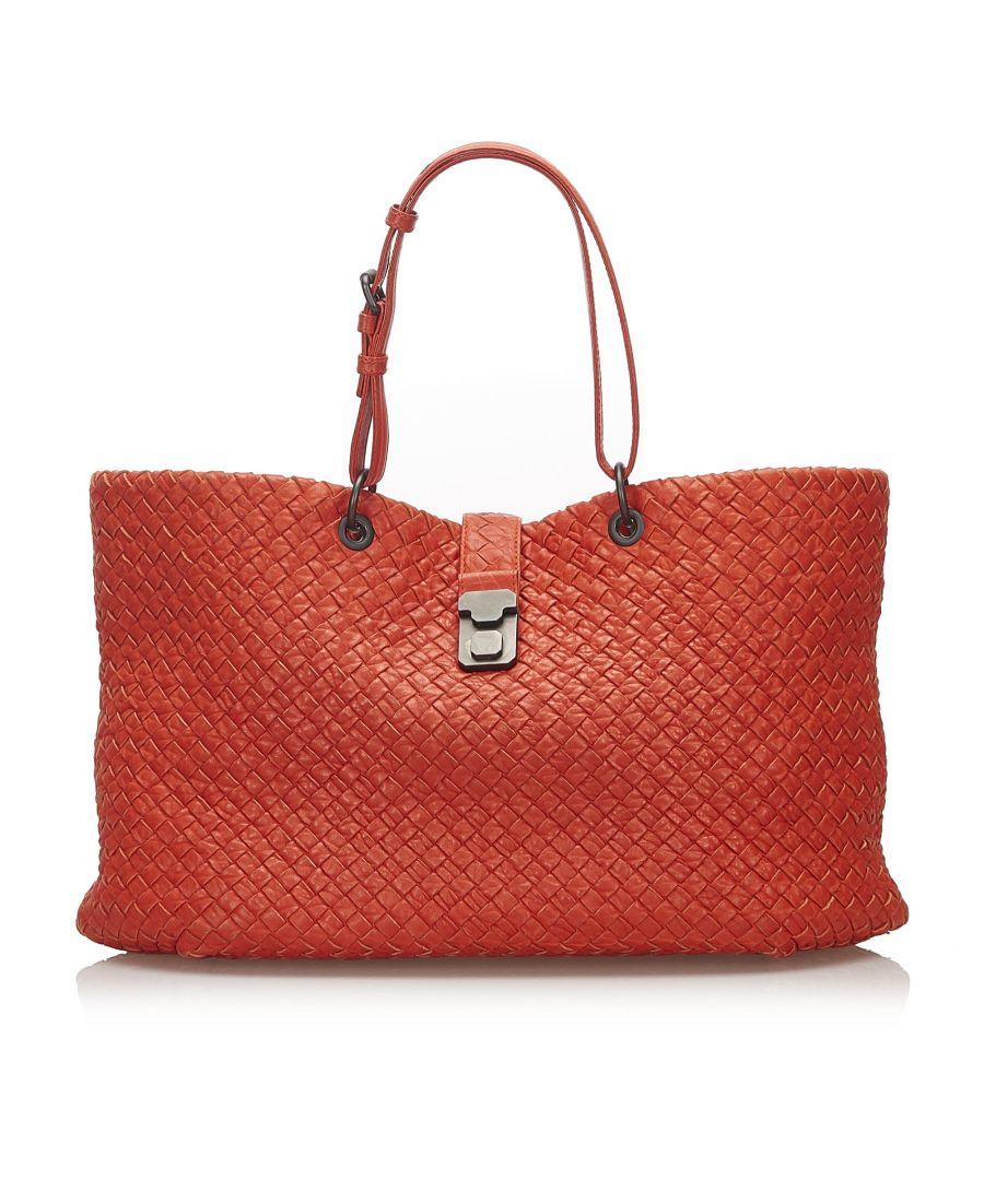Image for Vintage Bottega Veneta Intrecciato Capri Leather Tote Bag Red