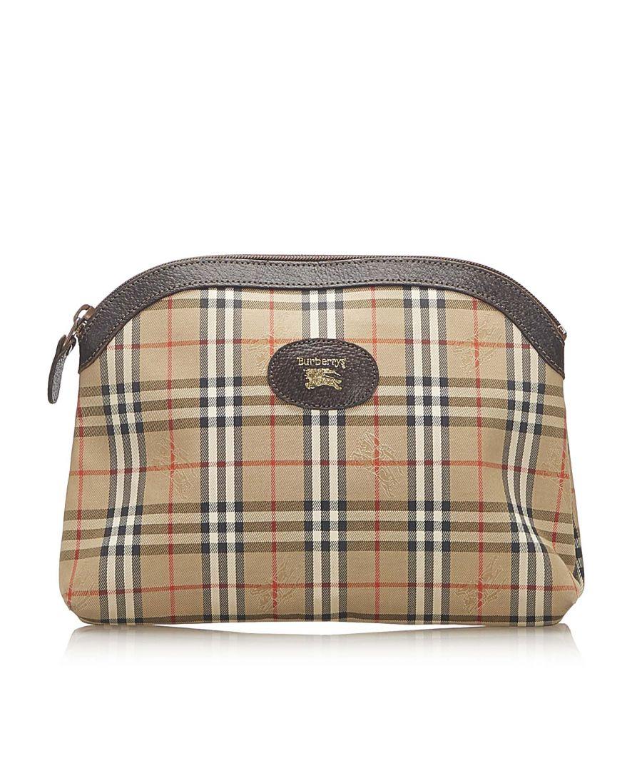 Image for Vintage Burberry Haymarket Check Canvas Clutch Bag Brown