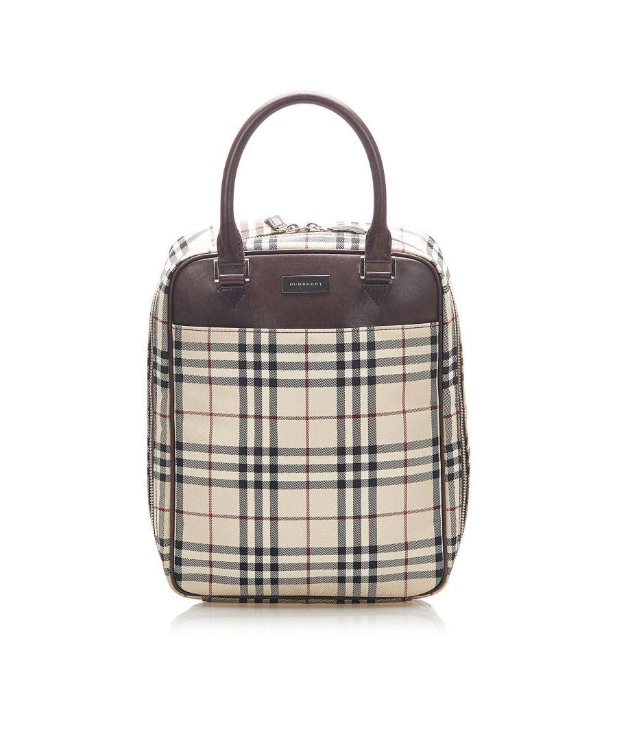 Image for Vintage Burberry House Check Canvas Handbag Brown