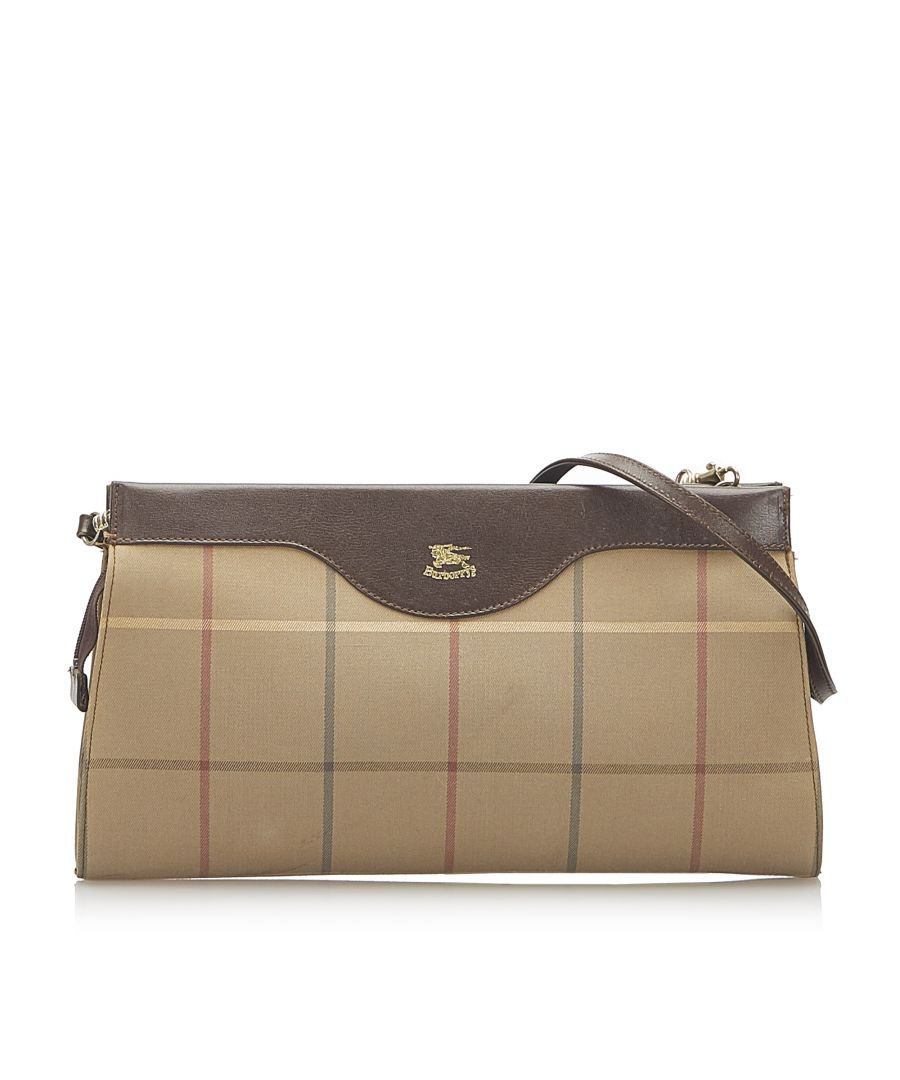 Image for Vintage Burberry Plaid Canvas Crossbody Bag Brown