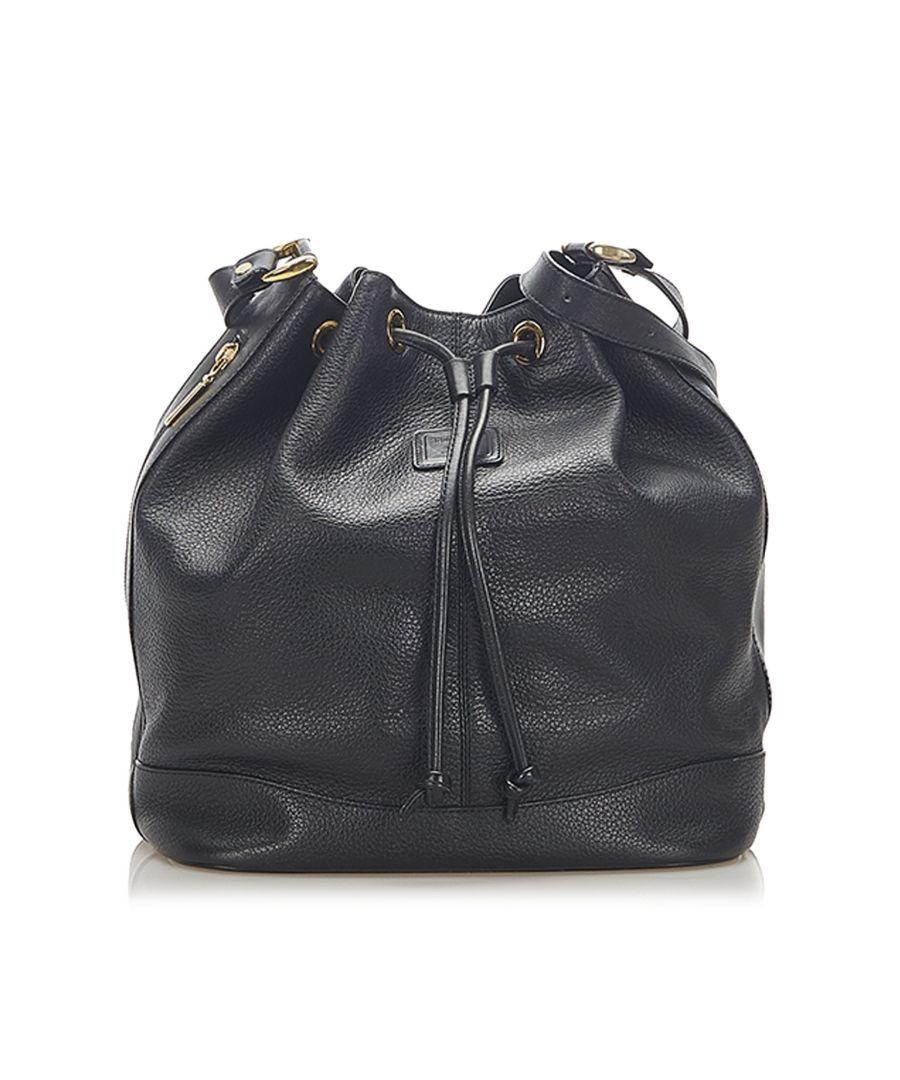 Image for Vintage Burberry Leather Bucket Bag Black