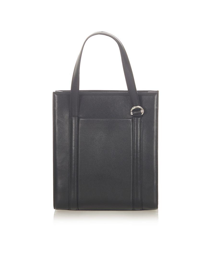 Image for Vintage Cartier Leather Tote Bag Black