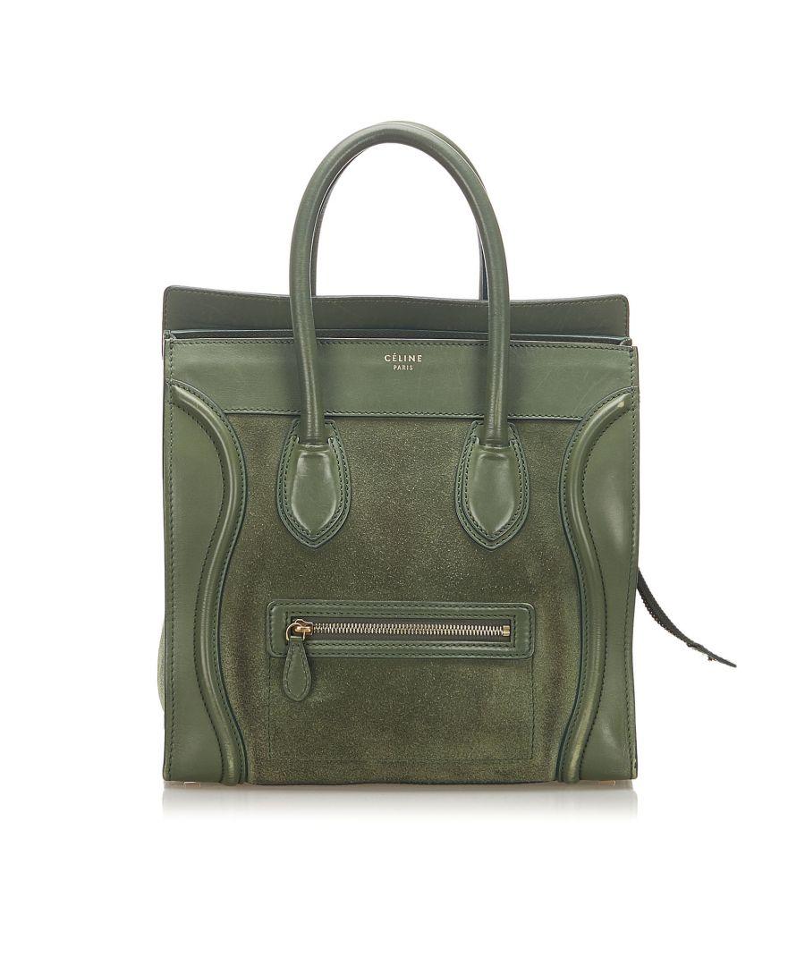 Image for Vintage Celine Luggage Leather Tote Bag Green