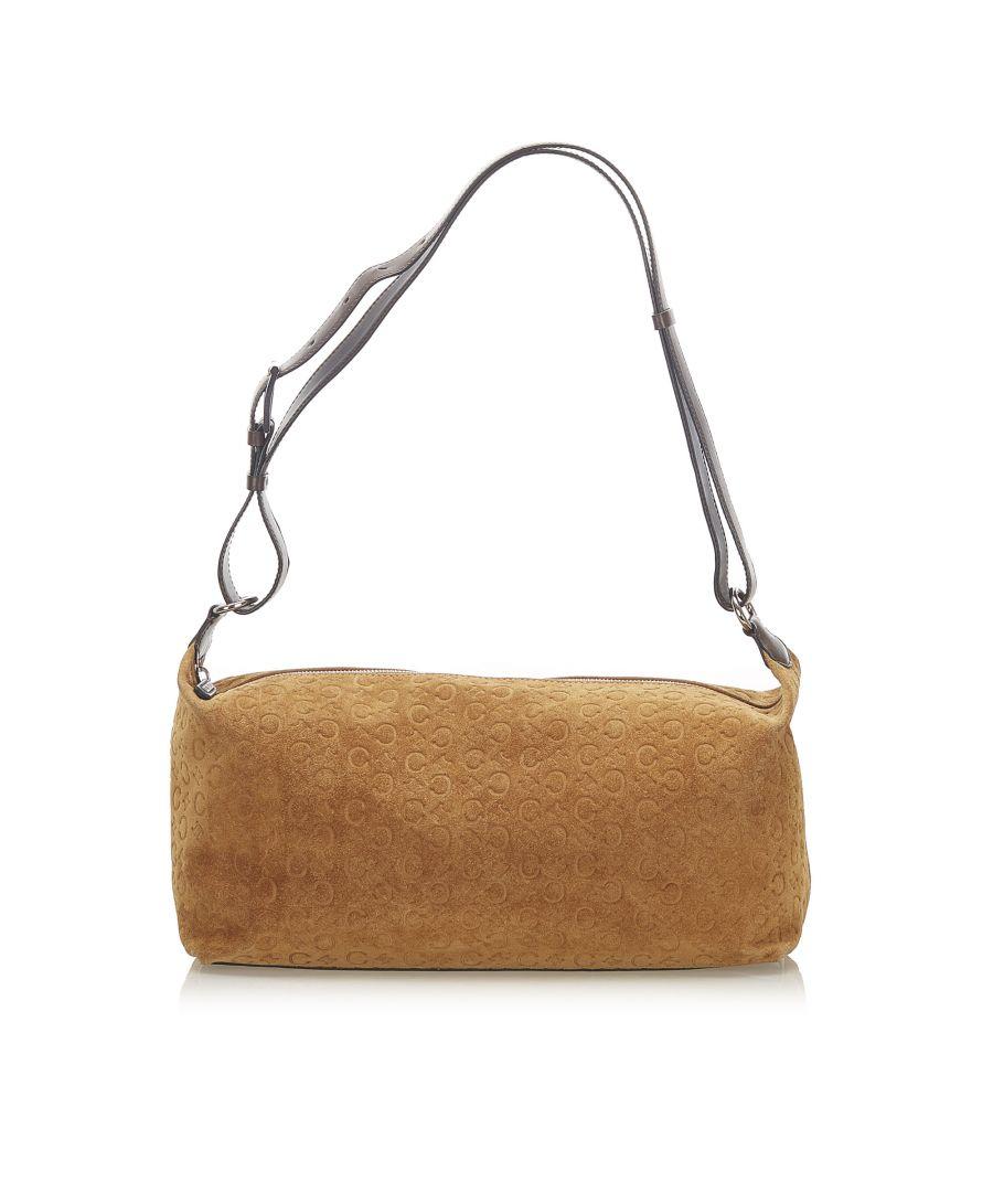 Image for Vintage Celine C Macadam Suede Shoulder Bag Brown