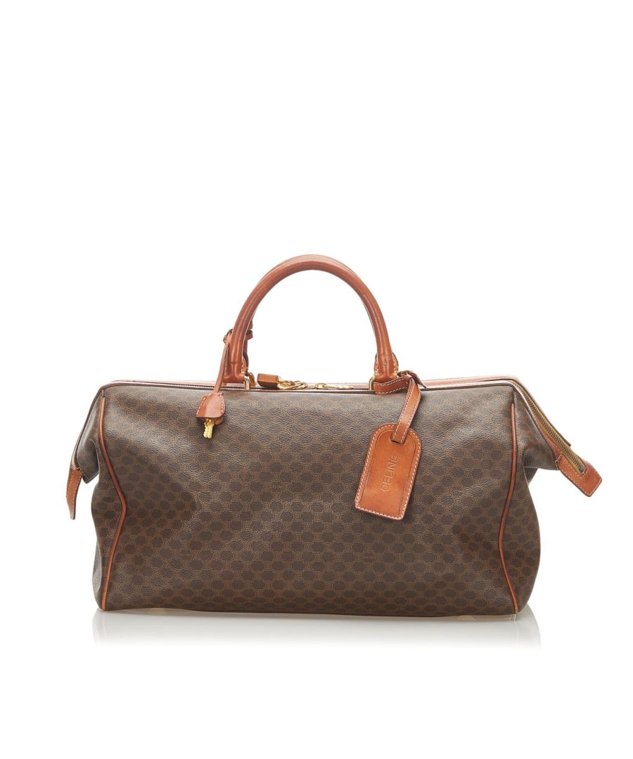 Image for Vintage Celine Macadam Boston Bag Brown