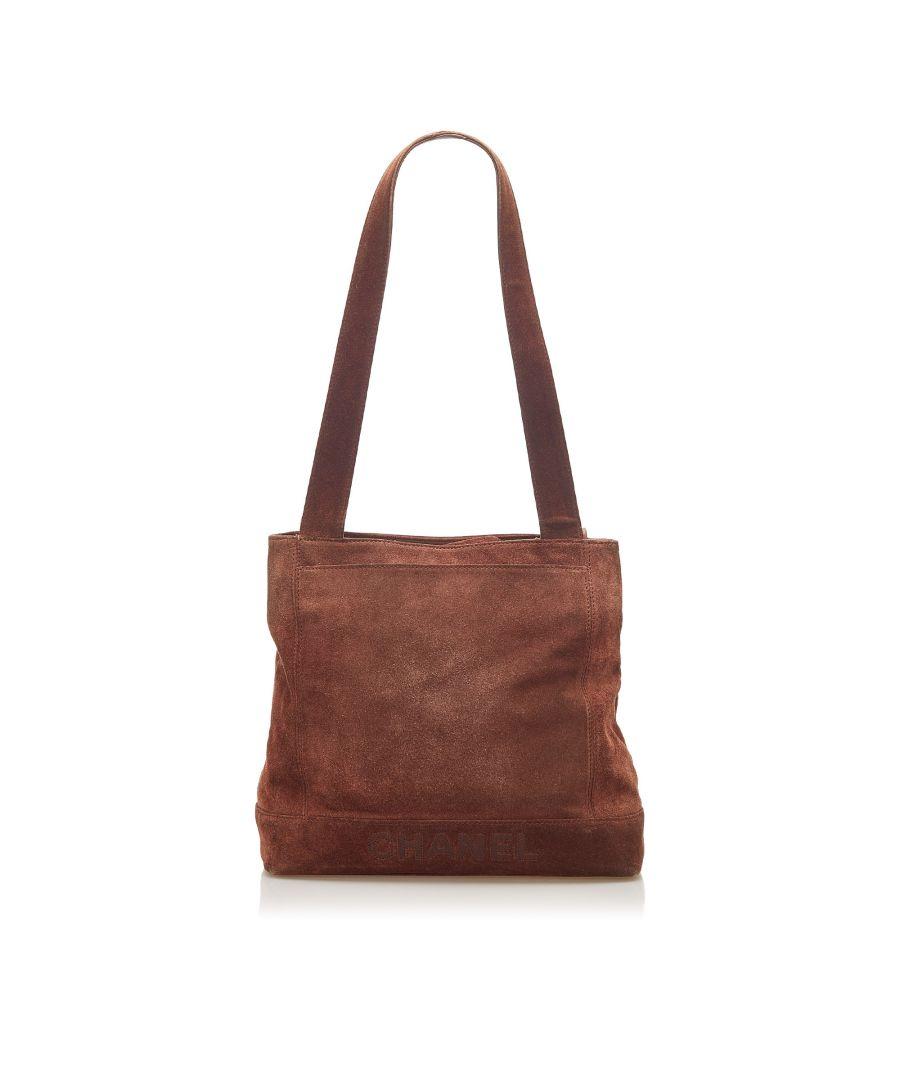 Image for Vintage Chanel Suede Tote Bag Brown