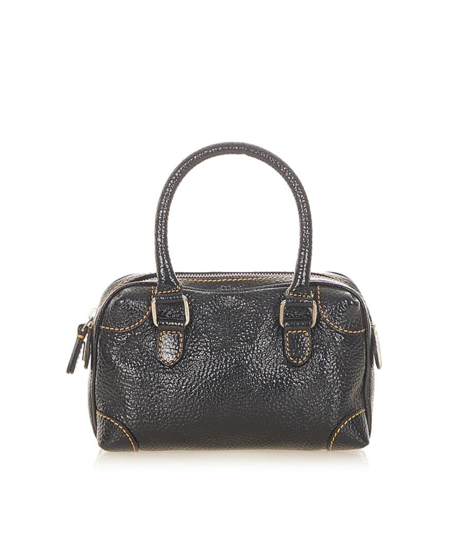 Image for Vintage Fendi Leather Boston Bag Blue