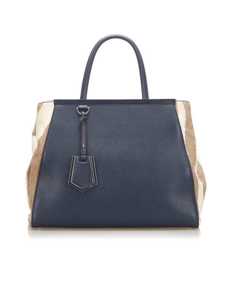 Image for Vintage Fendi 2Jours Leather Satchel Blue