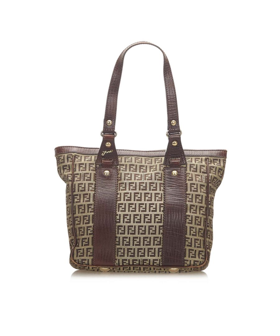 Image for Vintage Fendi Zucchino Canvas Tote Bag Brown