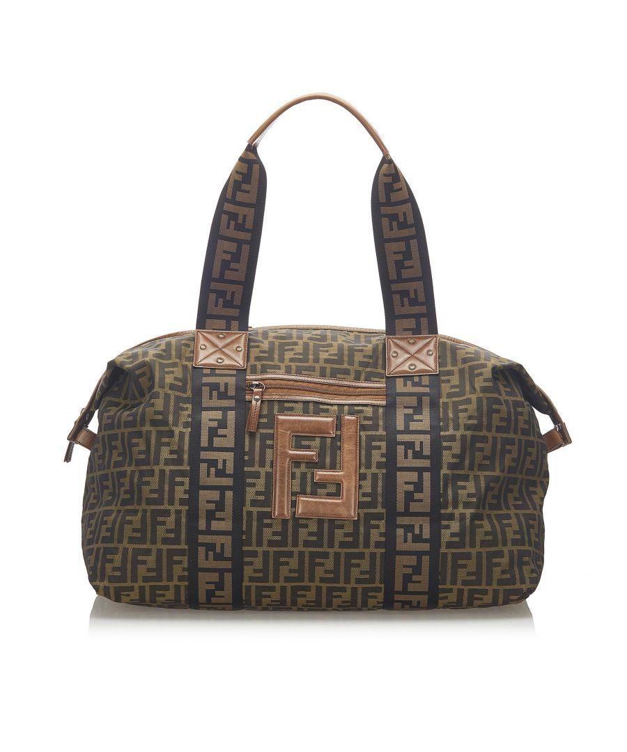 Image for Vintage Fendi Zucca Nylon Travel Bag Brown