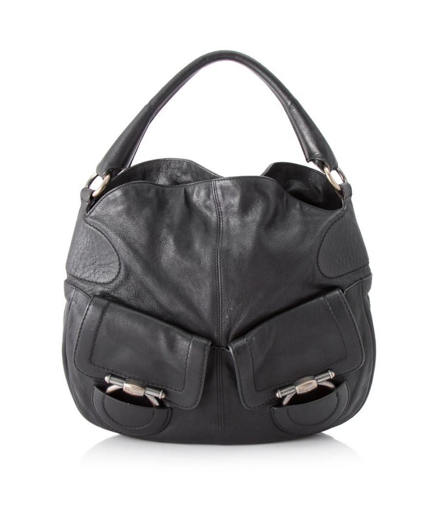 Image for Vintage Ferragamo Gancini Leather Handbag Black