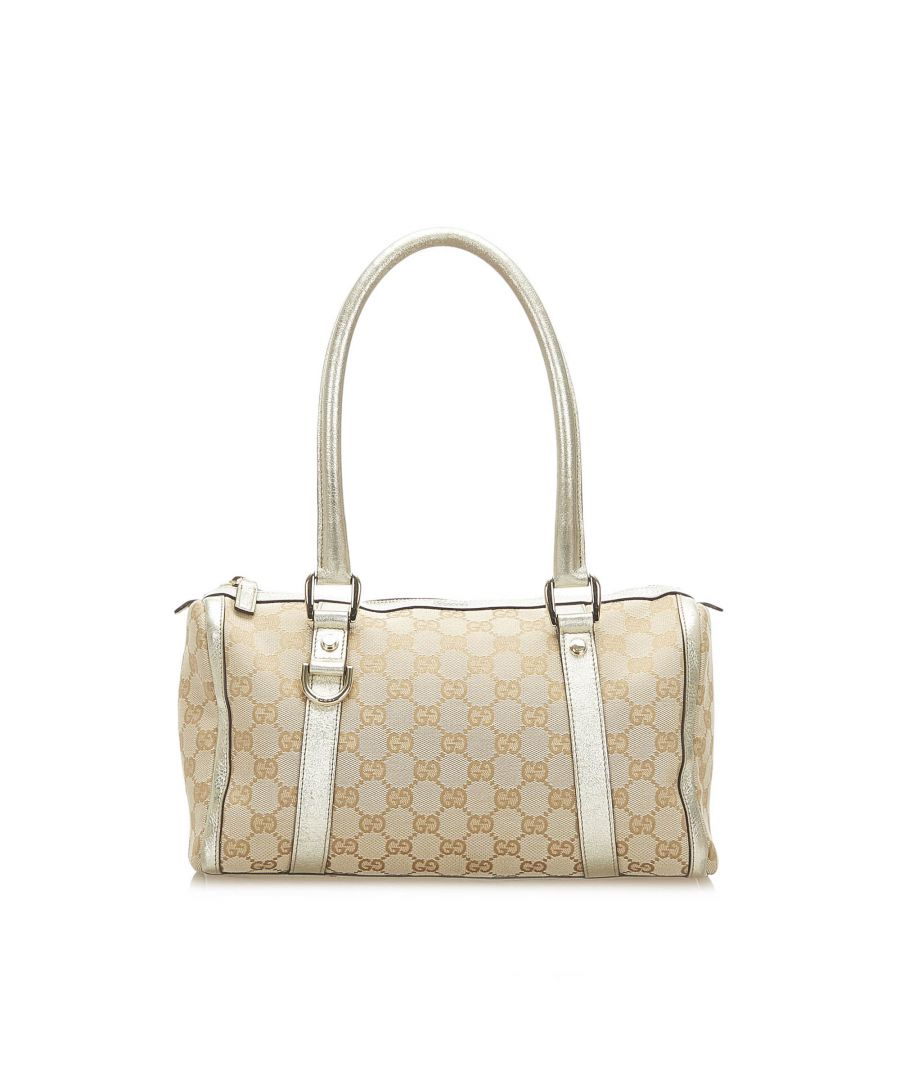 Image for Vintage Gucci Abbey GG Canvas Boston Bag Brown
