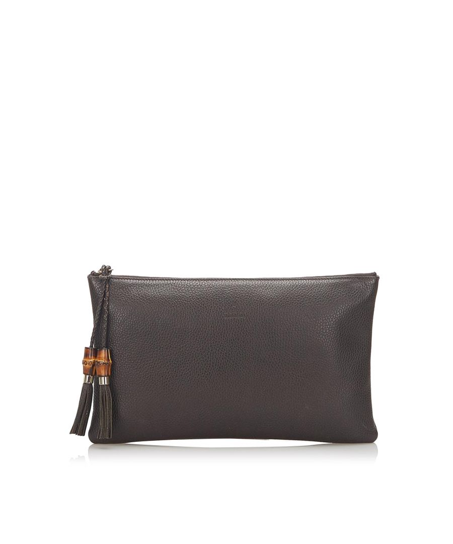 Image for Vintage Gucci Bamboo Leather Clutch Bag Brown