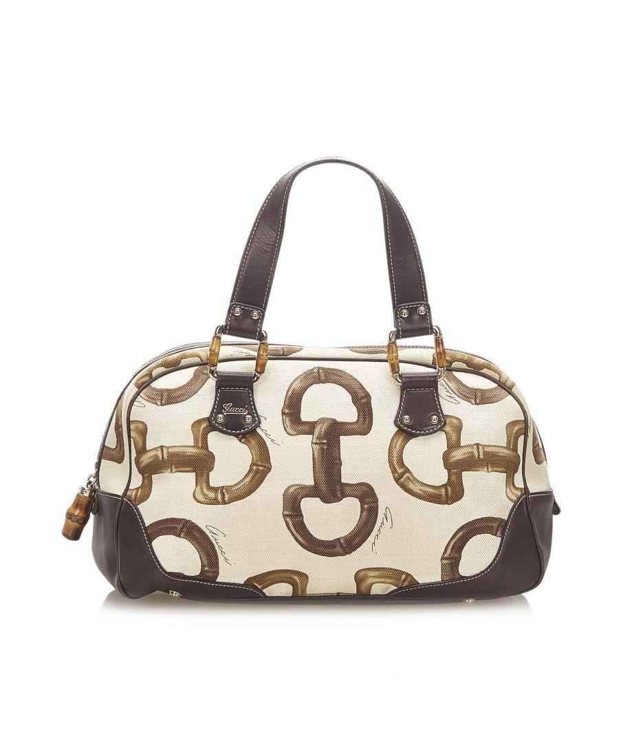Image for Vintage Gucci Bamboo Horsebit Canvas Handbag White