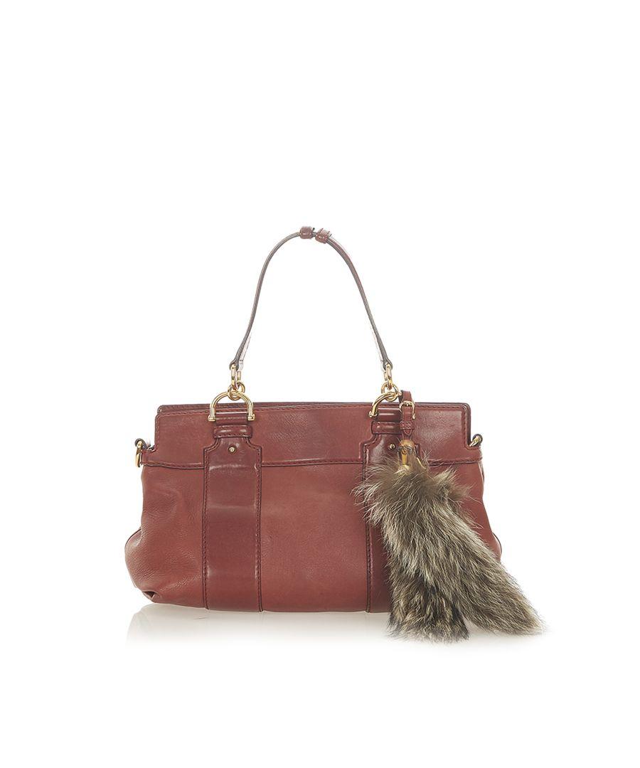 Image for Vintage Gucci Crest Leather Shoulder Bag Red
