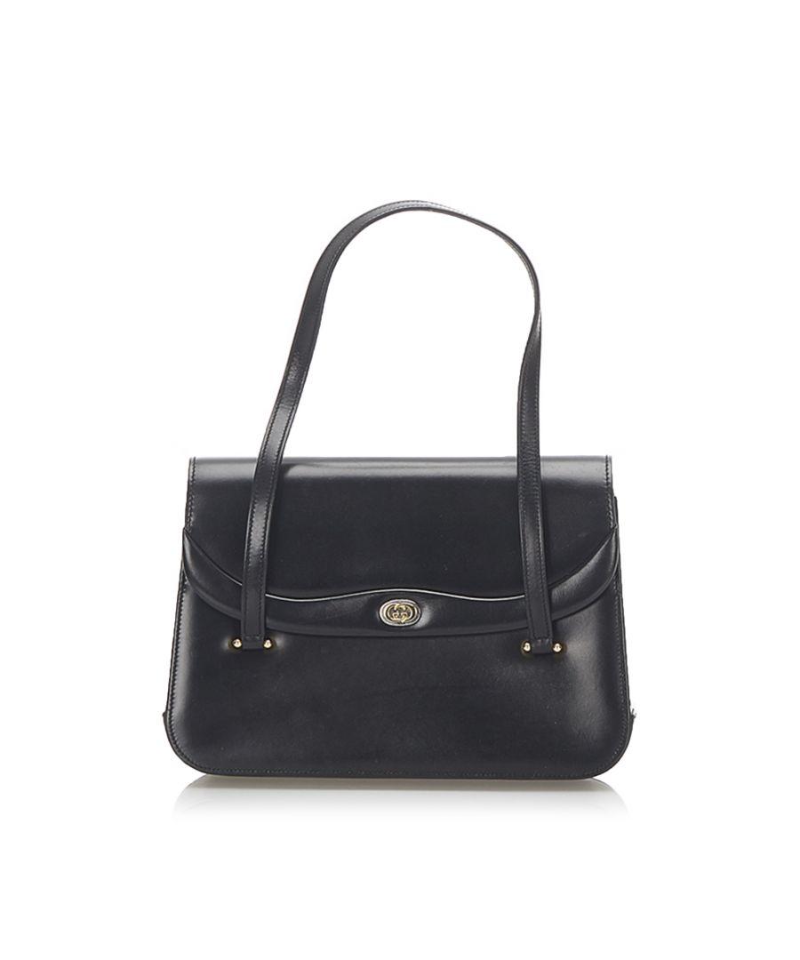 Image for Vintage Gucci Leather Handbag Black