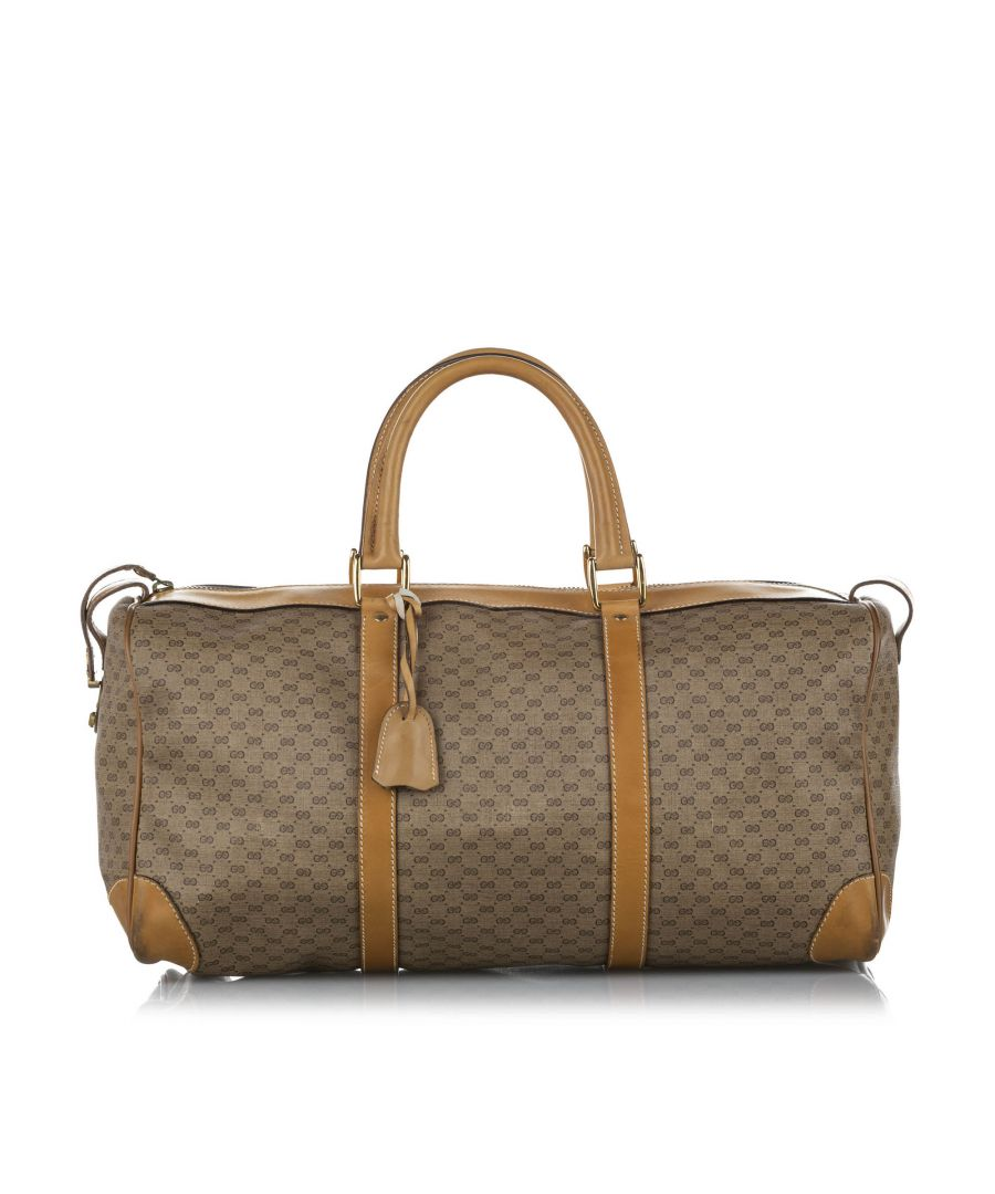 Image for Vintage Gucci GG Canvas Travel Bag Brown