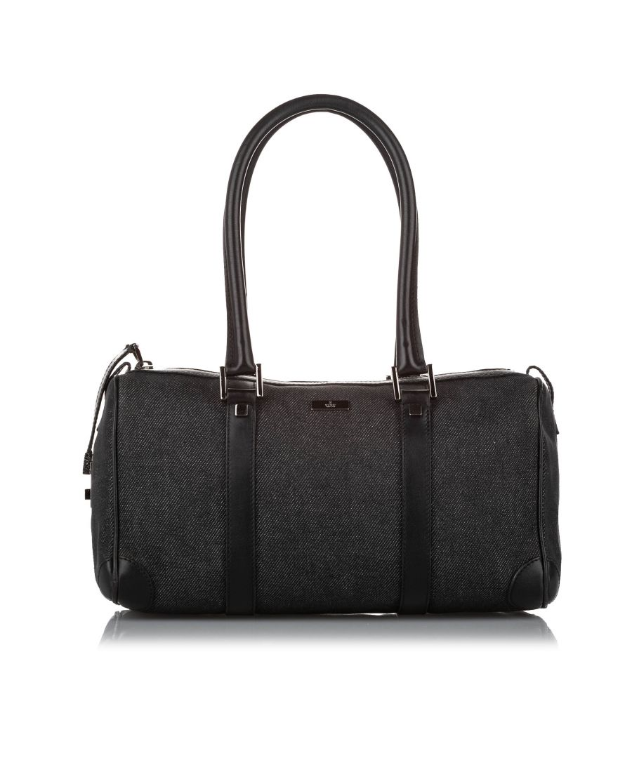 Image for Vintage Gucci Canvas Boston Bag Black