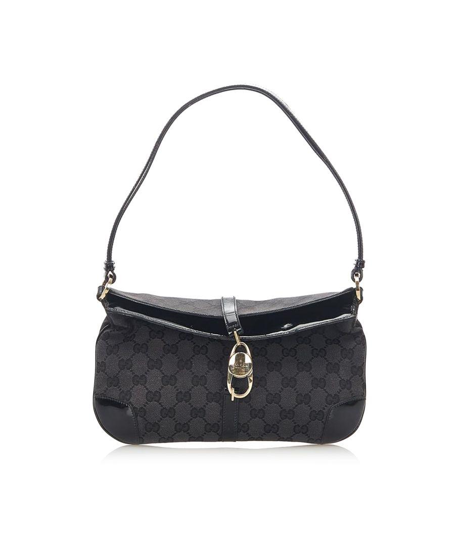 Image for Vintage Gucci GG Canvas Shoulder Bag Black