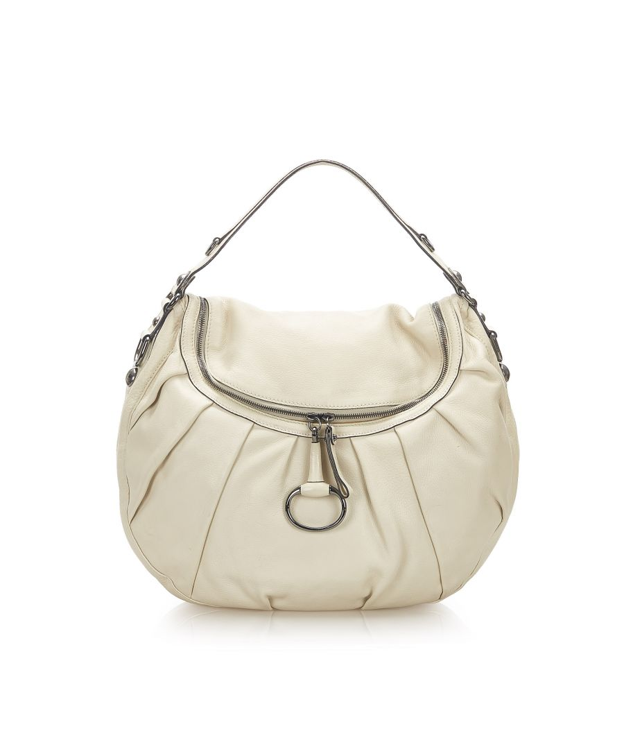Image for Vintage Gucci Icon Bit Leather Hobo White