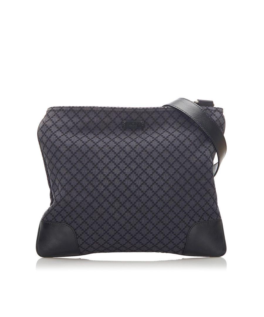 Image for Vintage Gucci Diamante Canvas Crossbody Bag Black