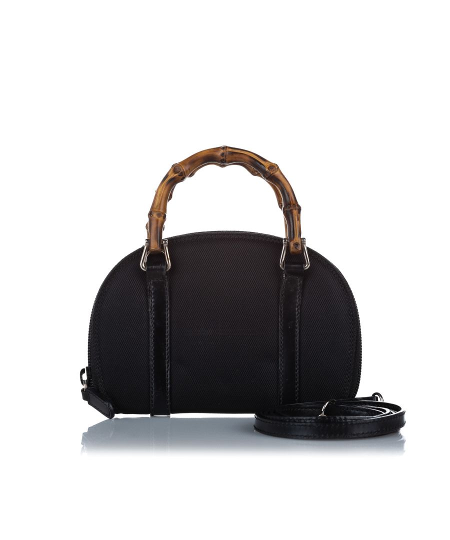 Image for Vintage Gucci Bamboo Canvas Satchel Black