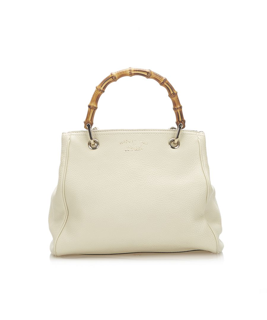 Image for Vintage Gucci Bamboo Shopper Leather Satchel White