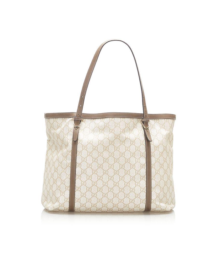 Image for Vintage Gucci GG Supreme Nice Tote Bag White