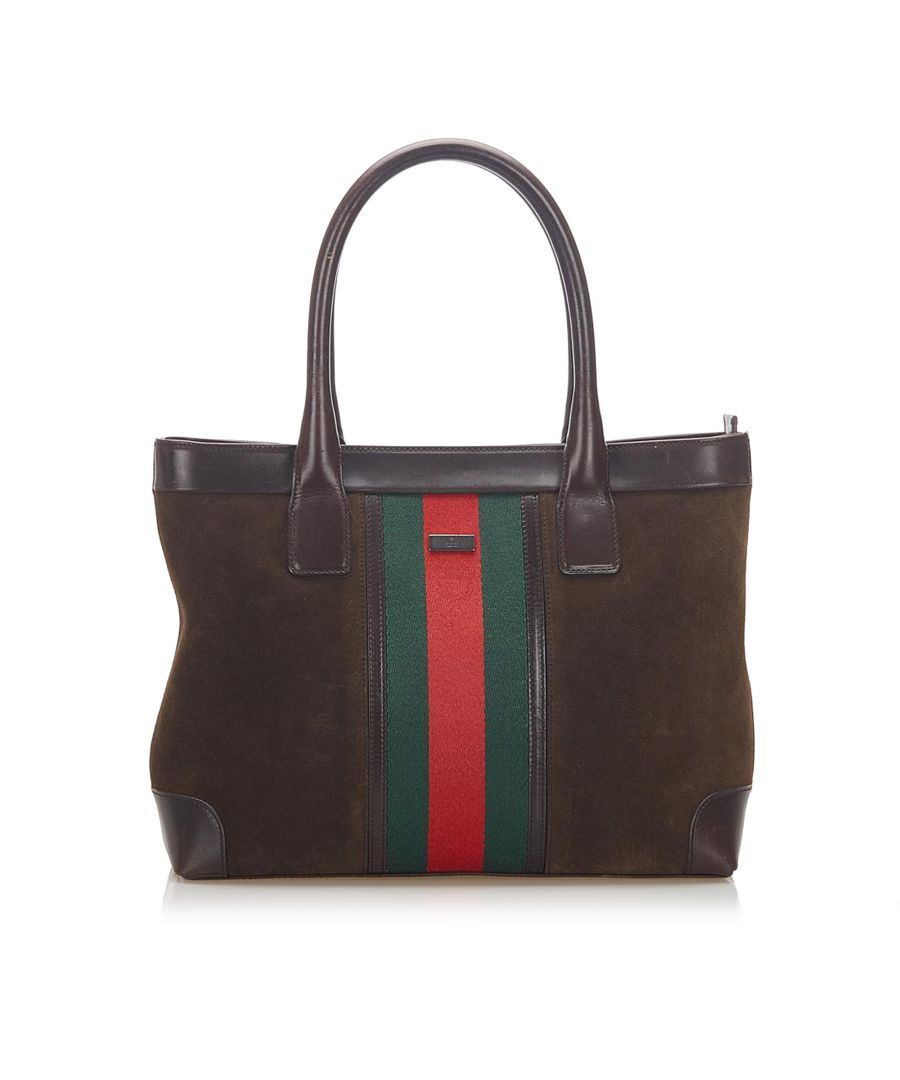 Image for Vintage Gucci Web Suede Tote Bag Brown