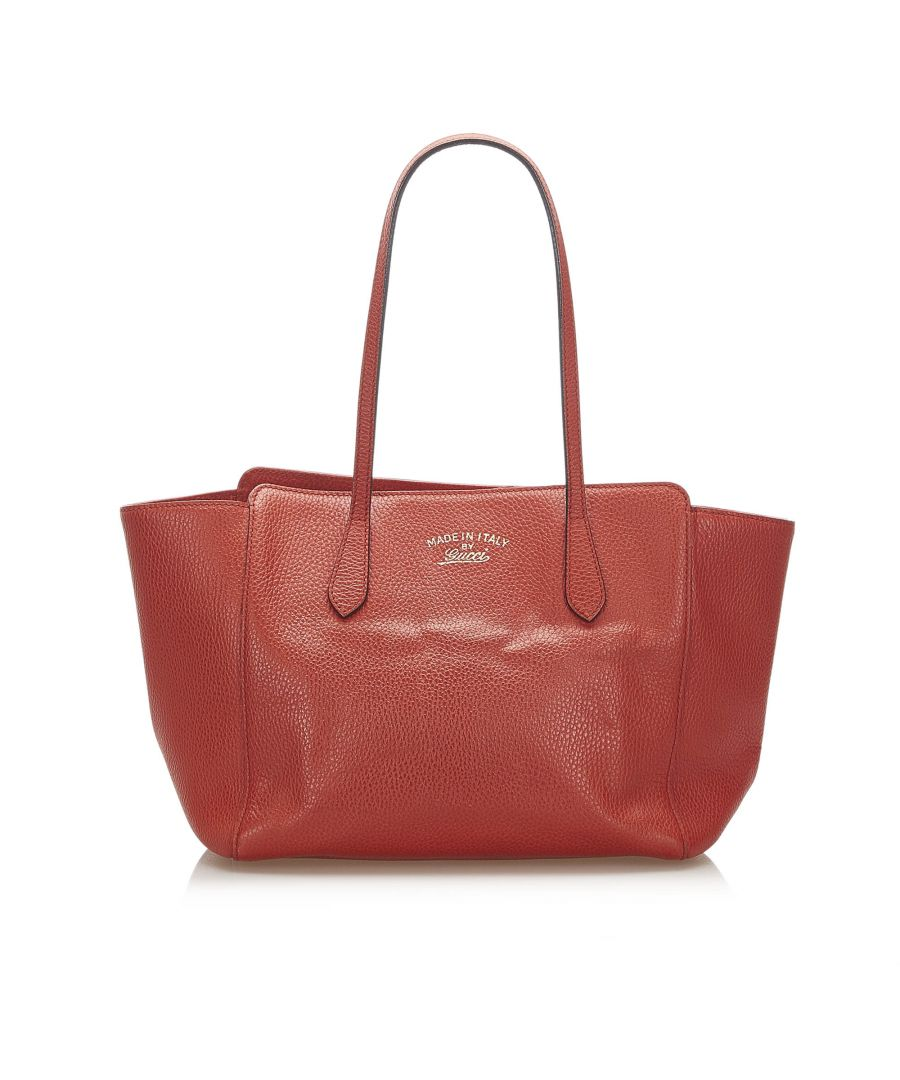Image for Vintage Gucci Swing Leather Tote Bag Red