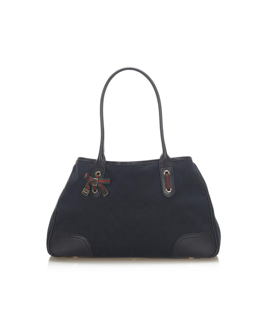 Image for Vintage Gucci GG Canvas Princy Tote Bag Black